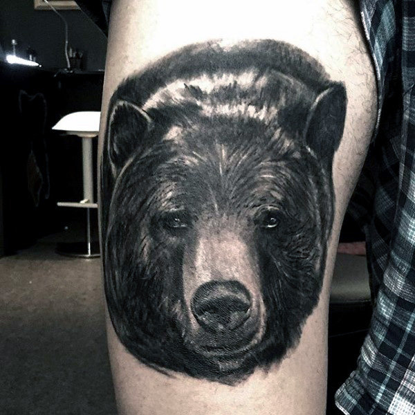 Top Thigh Black Bear Tattoo For Guys