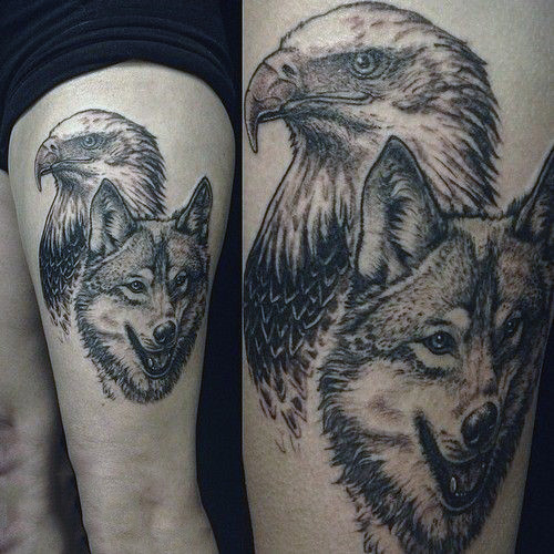 Wold Dan Eagle Guys Upper Thigh Tatu