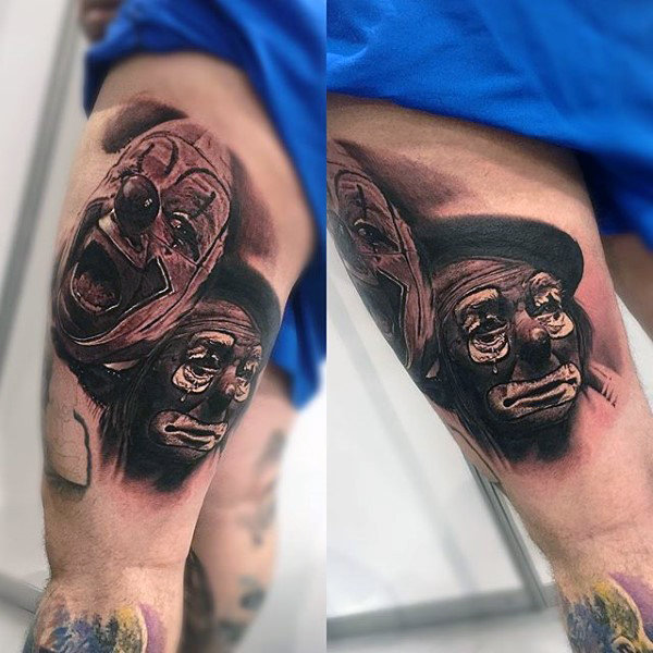 Clown gezichten heren dij tattoos
