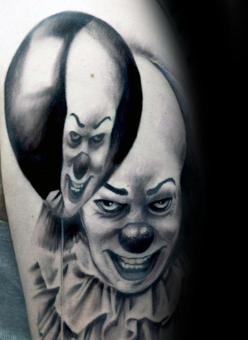 Clown Met Ballon Reflectie Herenarm Tattoos