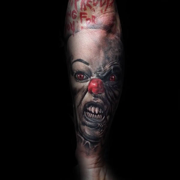 Clown met witte make-up Mens onderarm mouw Tattoo