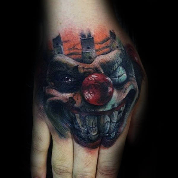 Creepy Clown Mens Hand Tattoo