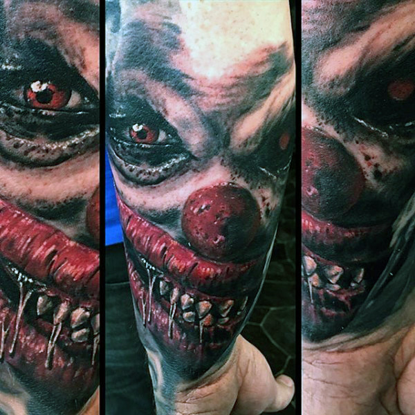 Evil Clown Face Mens Onderarm Mouw Tattoo