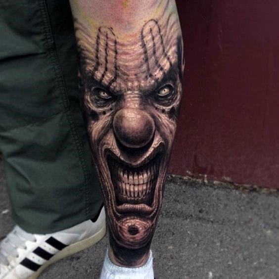 Evil Clown Guys beenmouwen tattoo inspiratie