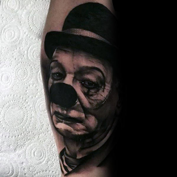 Gloom Looking Clown Mens Arm Tattoos