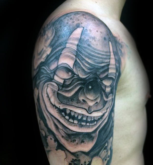 Manly Guys Half Sleeve Shaded Portait Of Evil Clown