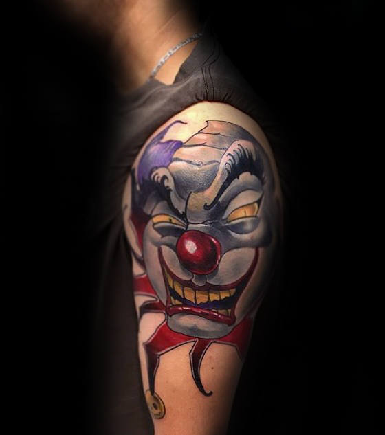 Modern Clown Head Herenarm Tattoos