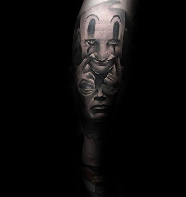 Optical Illusion Clown Sleeve Tattoo Design Ideas voor mannen