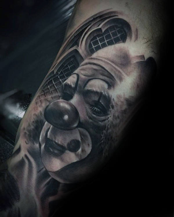 Realistische 3d Heren Clown Quarter Sleeve Tattoo Designs