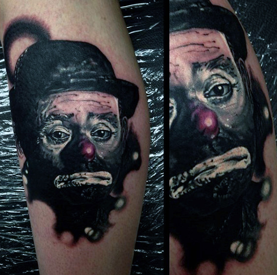 Klassiek Clownportret Guys Leg Tattoo Designs
