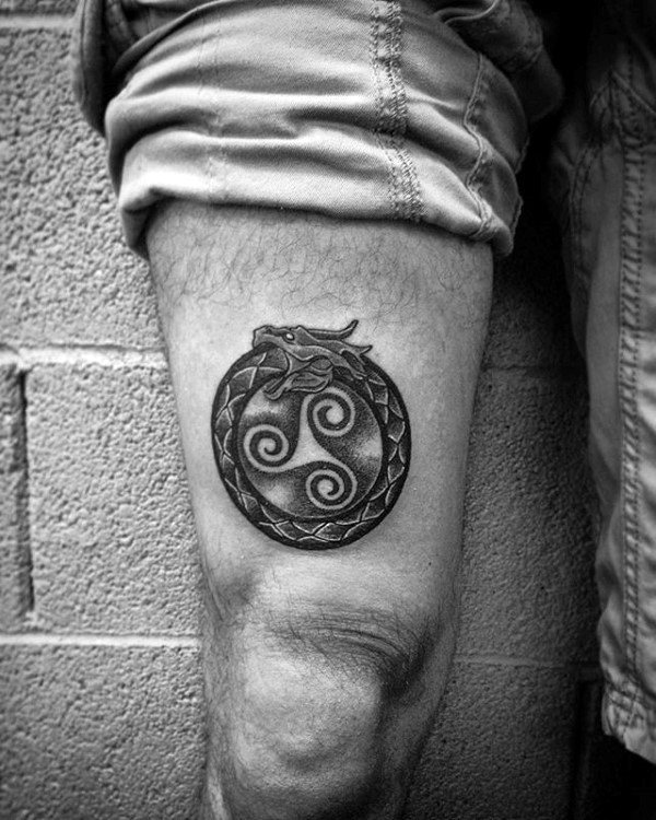 Celtic Ouroboros Mens Thigh Tattoo