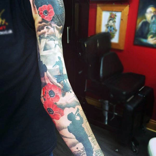 Incredible Rememberence Poppy Sleeve Tattoos For Men