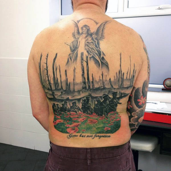 Mens Back Tattoo Of War Soliders Walking Through Poppy Flower Field