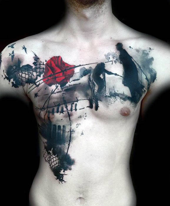 Mens World War I Streszczenie Tattoo In Black In With Red Poppy Flower On Chest
