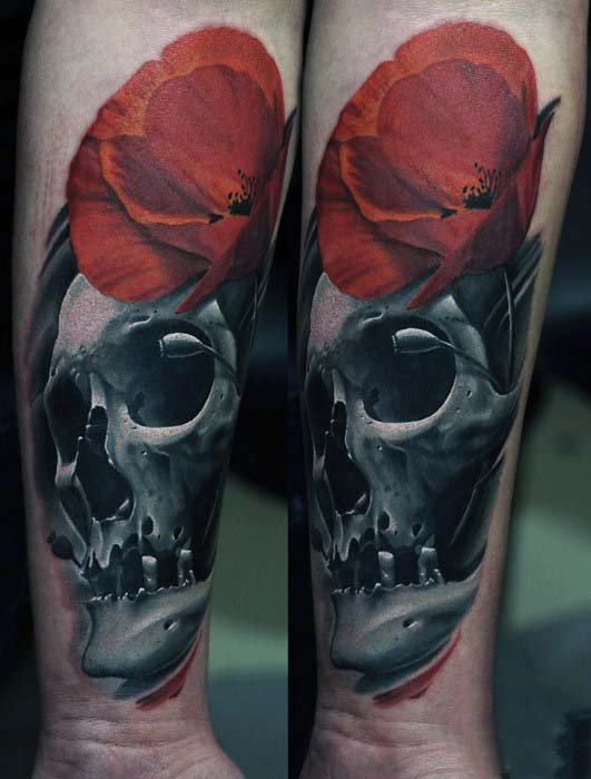 Skull With Red Poppy Mens Wrist Tattos
