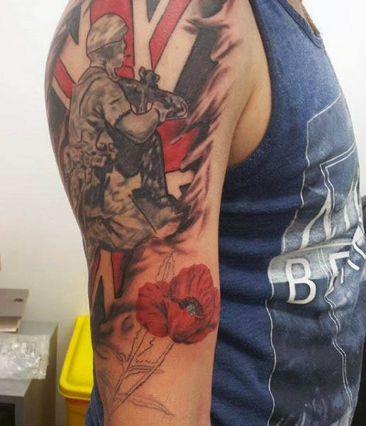 Solider In Combat Poppy Flower Mens Upper Arm Tattoos