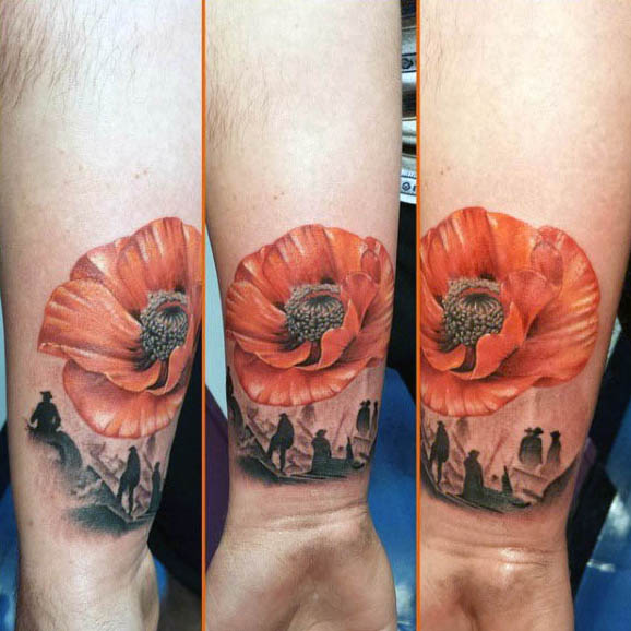 Wrist Battlefield Mens Tattoo With Poppy Flower