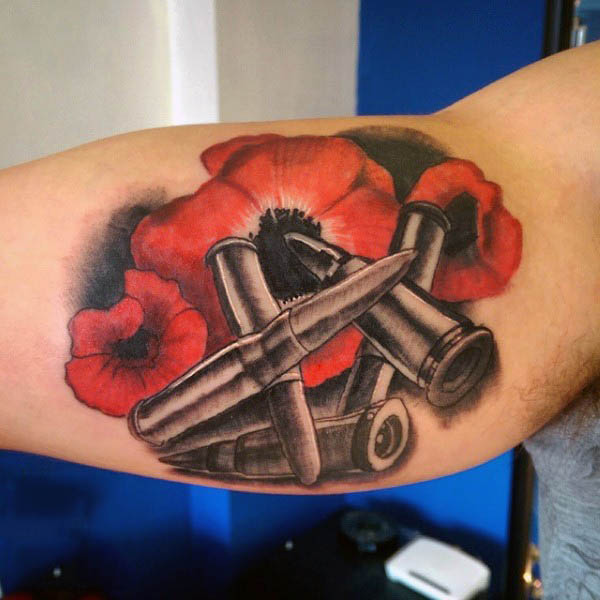 Bicep Poppy Flower Bullets Male Tattoos