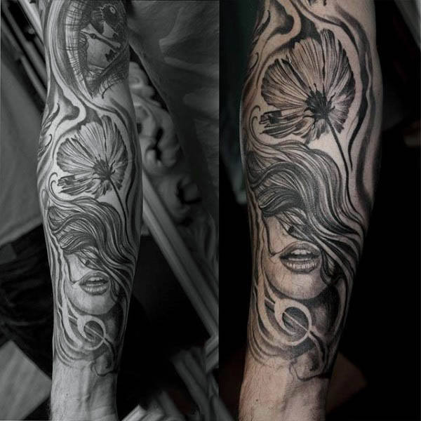 Czarny atrament Guys Poppy Tattoo Sleeve Design Ideas