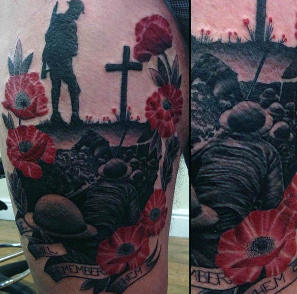 Faceci Grave Battlefield Memorial Poppy Tattoos Na Udzie Nogi