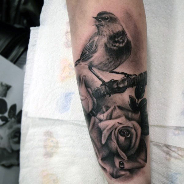 Stunning Sparrow On Realistic Rose Tattoo Herre Underarm