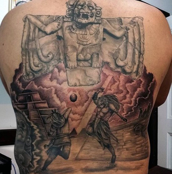 גברים גבריים /'s Aztec Full Back Tattoos