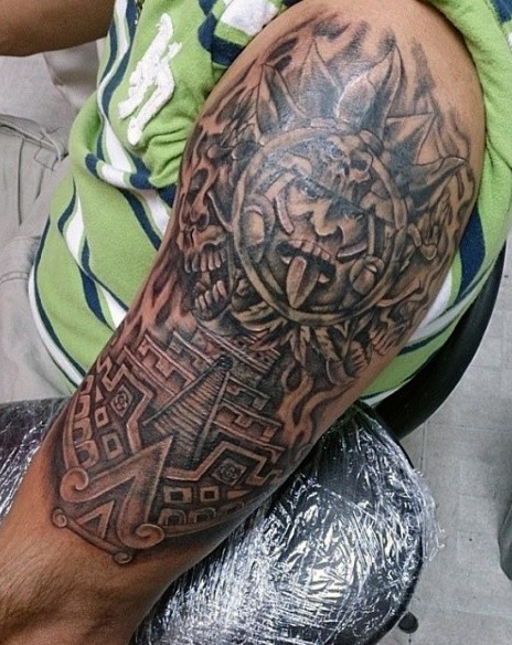 גברים's Aztec Gods Tattoos Half Sleeve