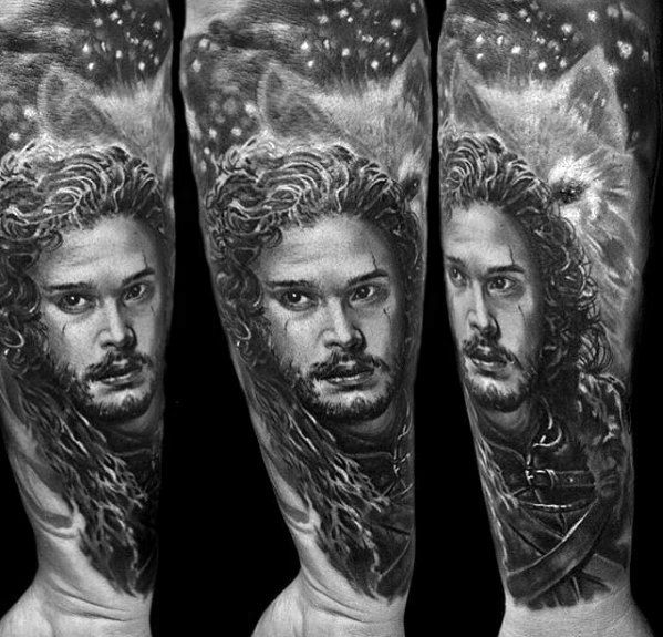 Game Of Thrones Jon Snow Forearm Sleeve Tattoos Mężczyzna