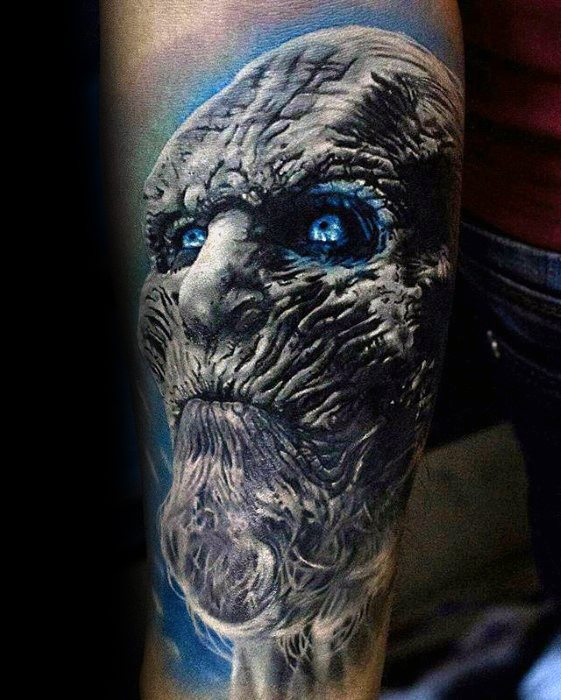 Game Of Thrones Realistic White Walker Forearm Sleeve Tattoo On Men