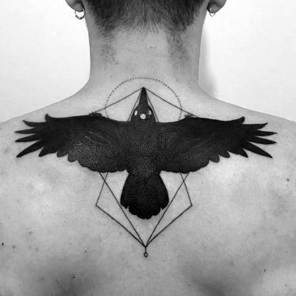 Guys Game Of Thrones Tatuaż Three Eyed Bird On Upper Back