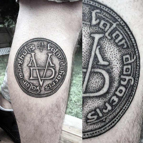 Guys Leg Calf Symbol Dotwork Game Of Thrones Tattoos