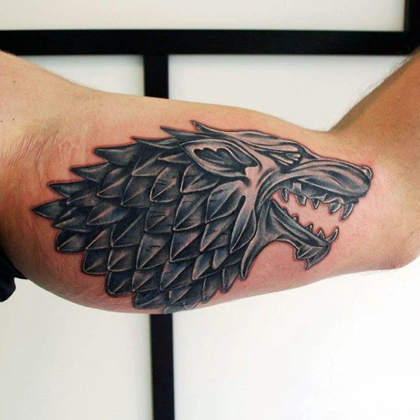 Inner Arm Bicep Niesamowite Męskie Game Of Thrones Dire Wolf Tattoo Designs