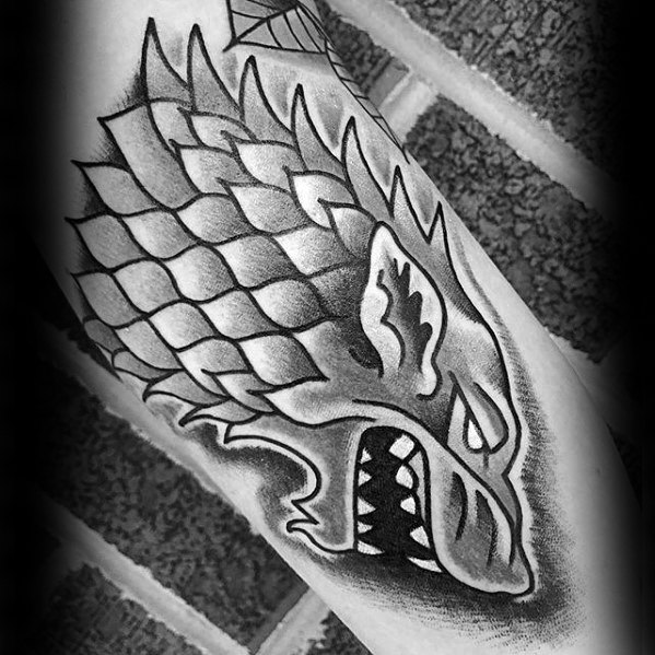 Inner Arm Bicep Shaded Black And Grey Game Of Thrones Tattoo Designs For Men