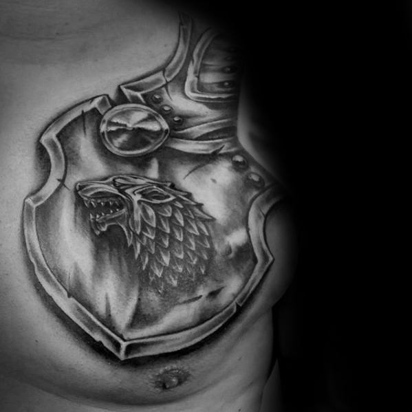 Męskie Game Of Thrones Armor Plate Shoulder And Chest Tattoo Designs