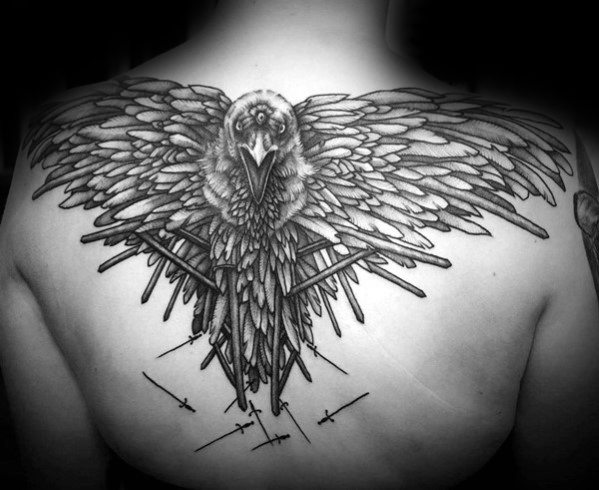 Człowiek z wierzchniej broni Swords Three Eyed Crow Game Of Thrones Tattoos