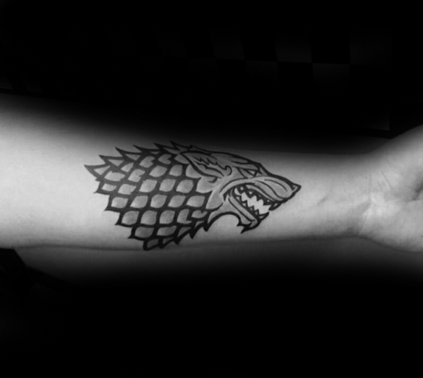 Męskie Awesome Game Of Thrones Dire Wolf Inner Forearm Tattoo Ideas