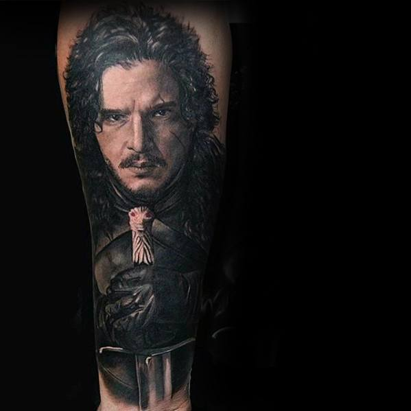 Cool Male Jon Snow Game of Thrones Tatuiruotes dizainas