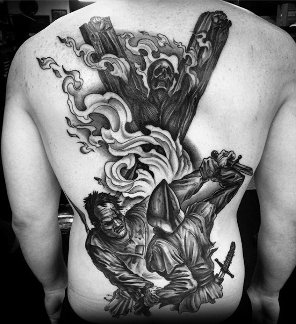 Męskie Tattoo Z Game Of Thrones Design On Back
