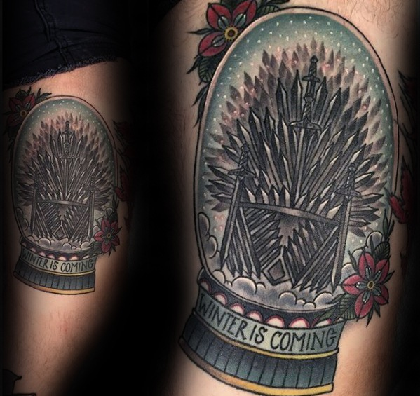 Old School Tradycyjne Śnieg Globe Game Of Thrones Mens Tattoos