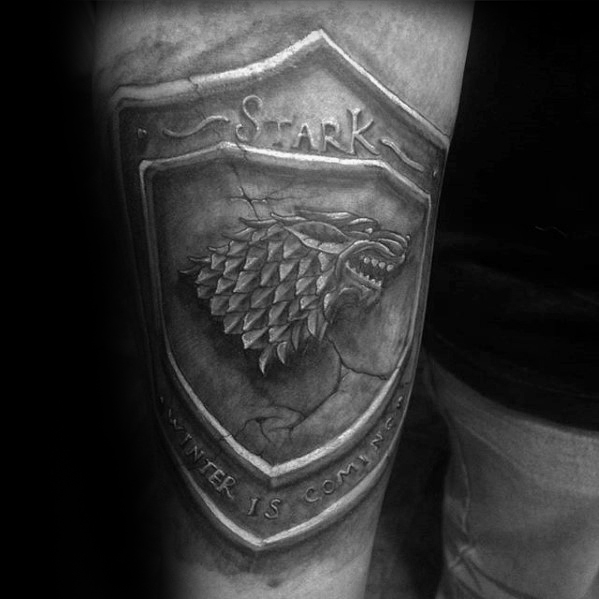 Twórczy 3d Stone Stark Shield Thigh Game Of Thrones Tattoos For Men