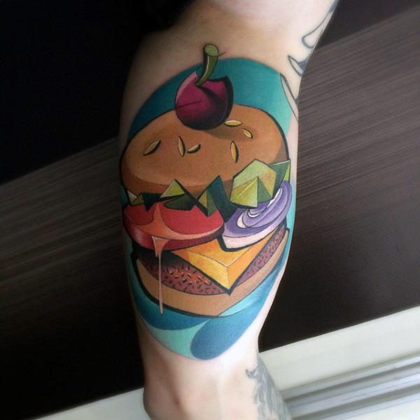Tatuaggio bicipiti Graffiti Cheeseburger con design creativo