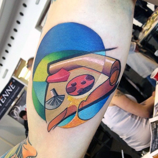Cool Mens Graffiti Pizza Tattoo sul bicipite