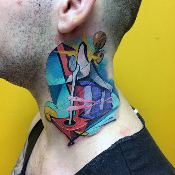 Creative Colourful Guys Graffiti Collo tatuaggi