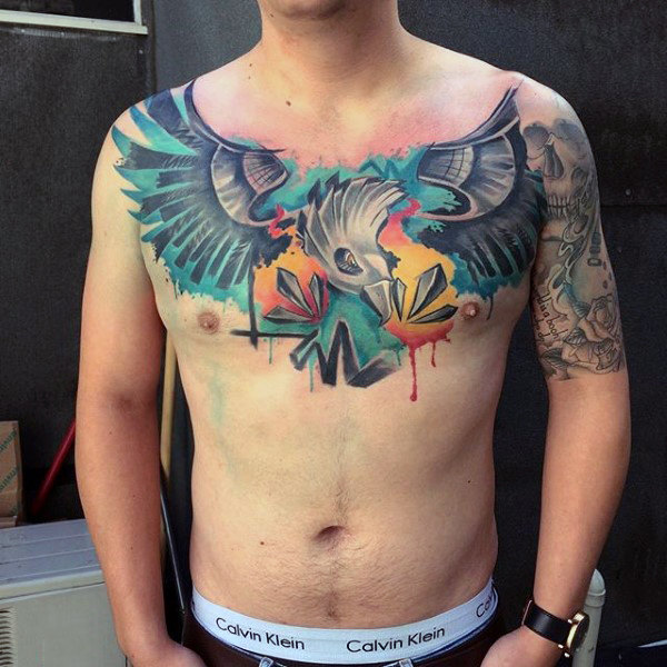 Tatuaggi di Eagle Graffiti Abstract Watercolor Mens sul petto