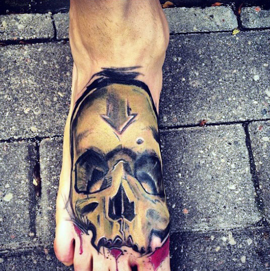 Tatuaggio di Guys Graffiti Skull Foot