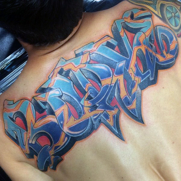 Guys Wildstyle Word Graffiti Back Tattoos