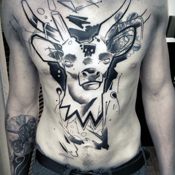 Uomo con cervi astratti Acquerello Graffiti Tattoo On Chest