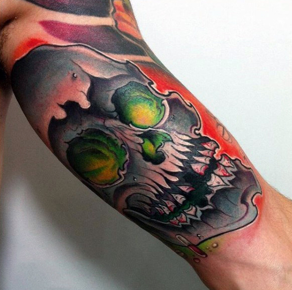Skull Graffiti Glowing Green Eyes Mens Braccio tatuaggio