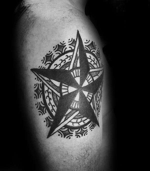 Dekorative Nautical Star Guys Tattoo On Leg Calf