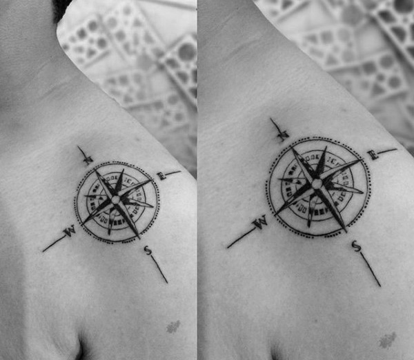 Detaljert Nautical Star Guys Shoulder Tattoo Ideas